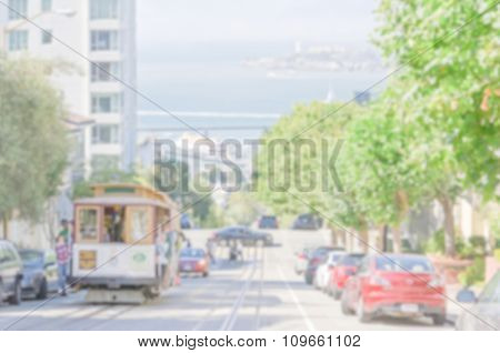 Defocused Background Of A Central Street In San Francisco, Usa