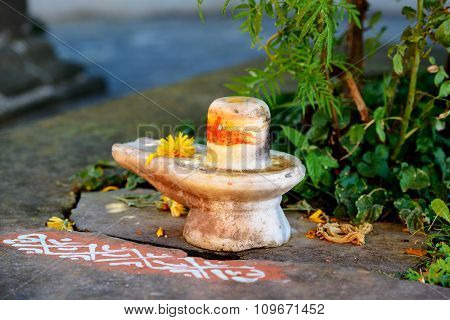 Shiva lingam in Krishna temple, Kullu Valley, India