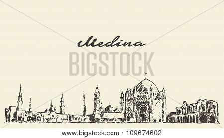 Medina skyline vector engraved illustration drawn