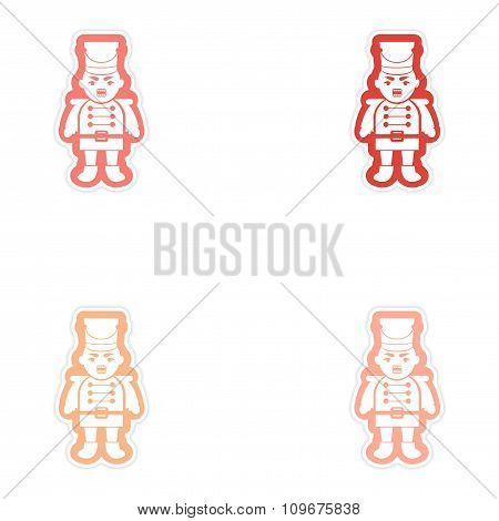 Set of paper stickers on white background Christmas Nutcracker