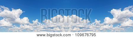 Abstract Wide Sky Panorama With Scattered Clouds