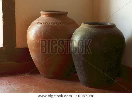 Two terracotta jars