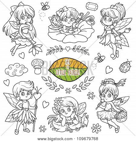 Colorless Set About Little Fairies, Cartoon Collection