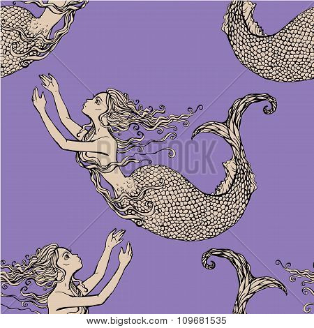 Seamless Pattern With Beautiful Mermaid Girls. Hand Drawn Illustration. Fairy Tale Background