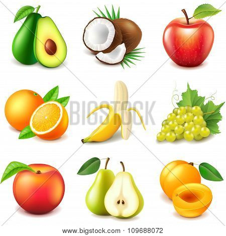 Fruits Icons Vector Set