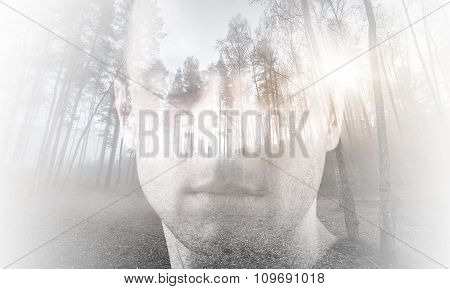 Young Man With Closed Eyes Combined With Landscape