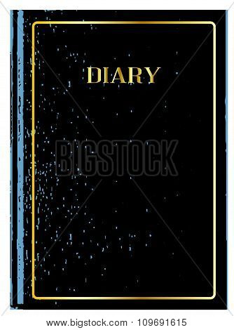 Black front cover of a leather bound diary poster