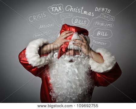 Frustrated Santa Claus. Christmas And Many Problems.