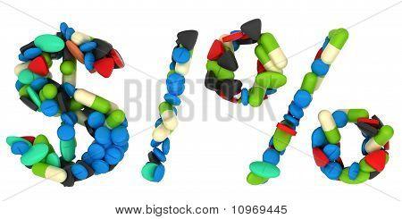 Pills Font Us Dollar, Percent Symbols And Slash
