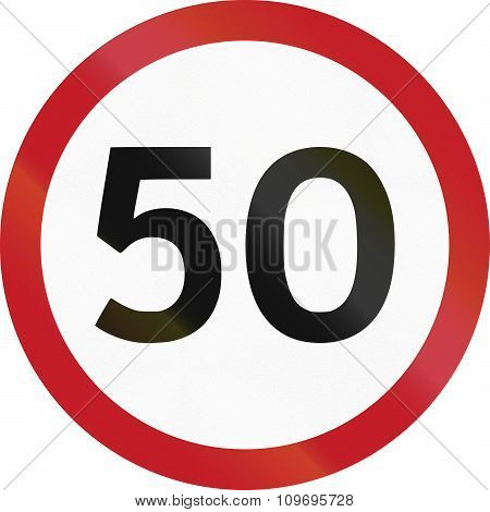 Road Sign In The Philippines - 50 Kph Speed Limit Sign In The Philippines
