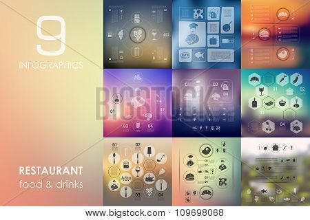 restaurant infographic with unfocused background