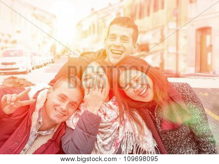 young girls and boys laughing and having fun