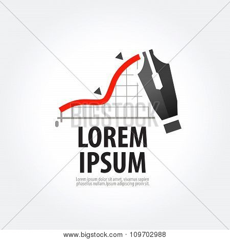 fountain pen and a business on grey background. vector illustration poster