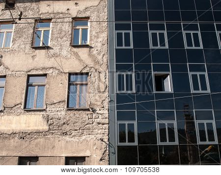 Old and new corporate buildings side by side in Sarajevo Bosnia and Herzegovina Europe. poster