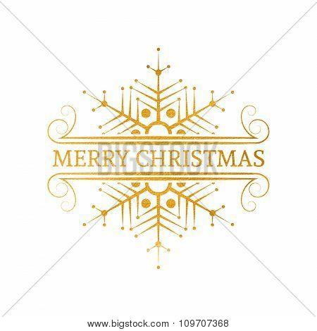 Decorative gold Christmas design element.
