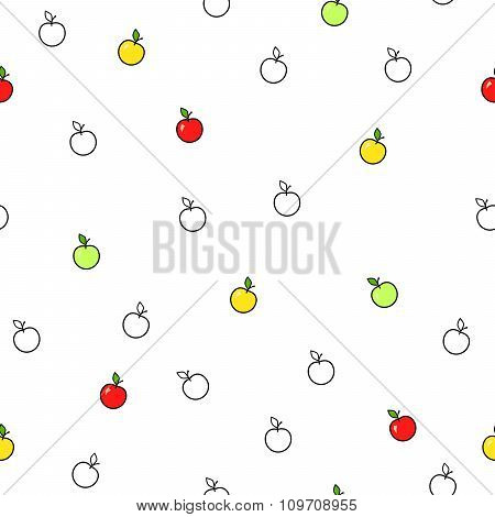 Abstract background fruit apple green red yellow seamless pattern vector