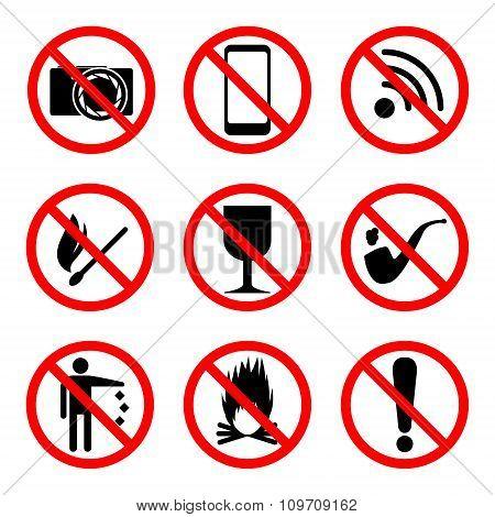Prohibitory Icons Set