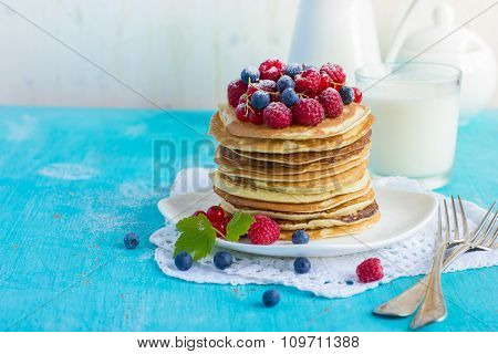 Pancakes With Fresh Summer Berries