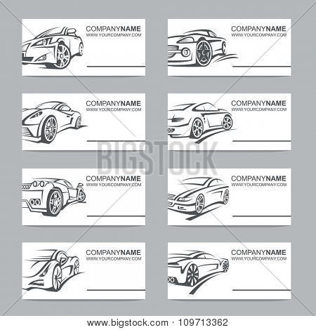 collection of eight business cards with cars