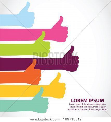 Creative Colorful Thumb Up Symbol