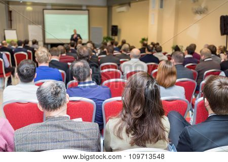 Many People At The Conference Hall Listening The Business Presentation