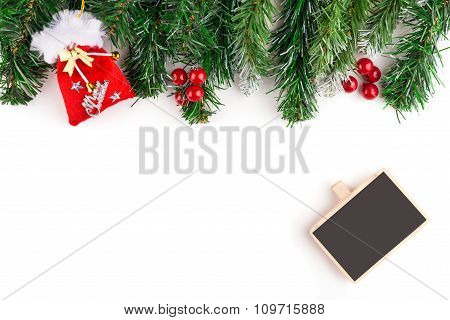 Christmas tree branch. Isolated on white background with copy space