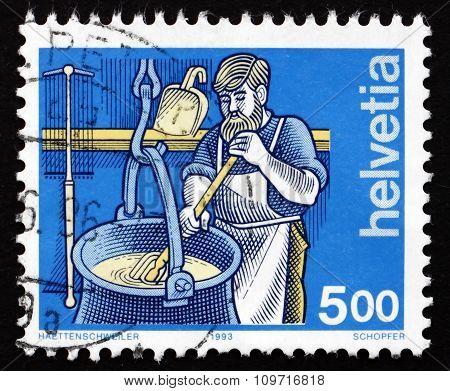 Postage Stamp Switzerland 1993 Cheesemaker, Industry