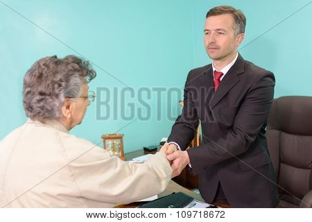 greeting a client
