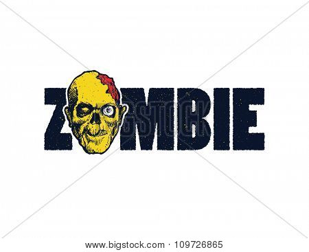Vector illustration of Cartoon zombie. Hand drawn.