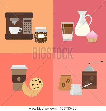 Colorful icons for coffee shop and cafe.