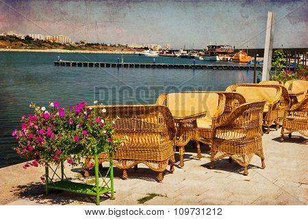 Terrace At Tomis Harbor In Constanta