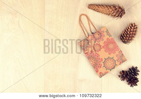 Fir Cones And Paper Shopping Gift Bag