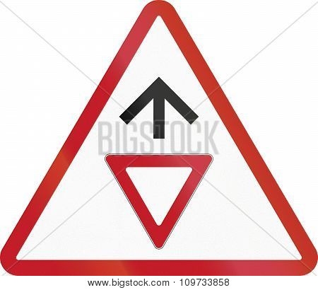 Road Sign In The Philippines - Give Way Sign Ahead