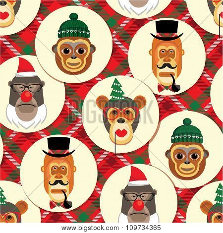 Vector Illustration Of Monkeys, Symbol Of 2016. Seamless Pattern.