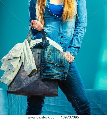Fashion Woman Wearing Blue Denim With Bag