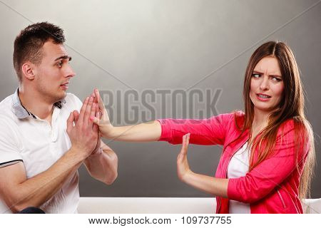 Husband Apologizing Wife. Angry Upset Woman.