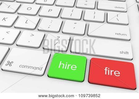 Hire And Fire Computer Keys On White Keyboard