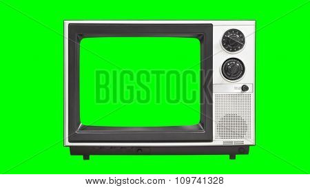 Vintage television with chroma key green screen and background.