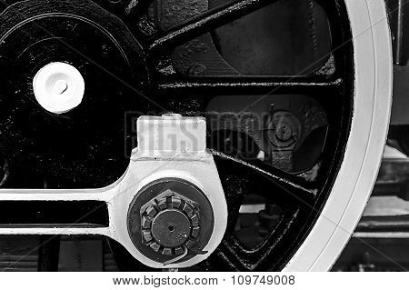 Black And White Detail And Close Up Of Huge Wheels At One Old Steam Locomotive 9