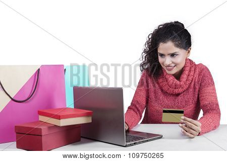 Indian Woman Shopping Online Isolated