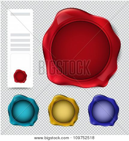 Collection Of Wax Seal Stamp. Verify Stamp Set. Vector Illustration.