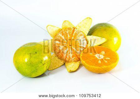 Orange Fruit and Longan Fruit on the white Background