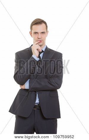 body language. man dressed business suit isolated on white background. finger in his mouth. a gestur