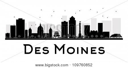 Des Moines City skyline black and white silhouette. Vector illustration. Simple flat concept for tourism presentation, banner, placard or web site. Business travel concept. Cityscape with landmarks