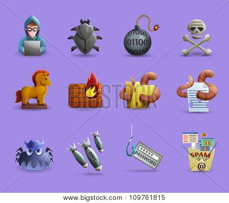 Malicious Software  Icons  Set