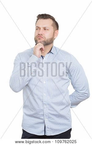 adult male with a beard. isolated on white background. hand behind his back, touching the chin. gest