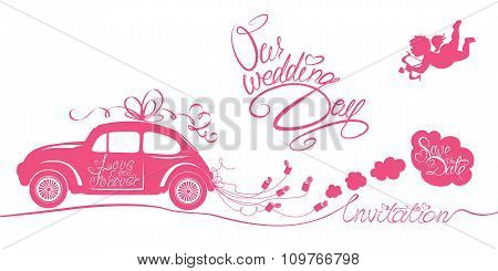 Funny Pink Wedding Card With Retro Car Dragging Cans, Angel And Calligraphic Texts - Our Wedding Day