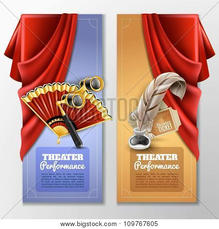 Theatre And Stage Banners Set