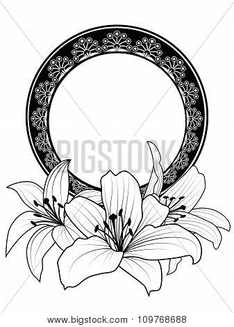 Floral Frame With Lilies