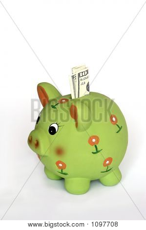 green piggy saving bank on white background. poster
